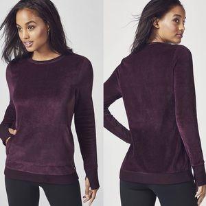 Fabletics Liane Velvet Plum Pullover Sweater H580